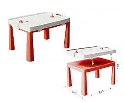 Пластиковый стол с насадкой для аэрохоккея (красный) 04580/5