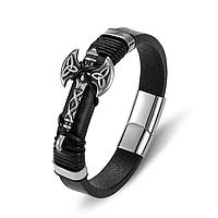 Кожаный браслет, мужской, стиль Готика, шт. (арт. 223), фото 1