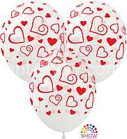 """Воздушные шары """"Сердечки большие красные (на прозрачном) Pure Cristal"""" 12""""(30 см)  В упак: 100шт ТМ Арт «SHOW»"""
