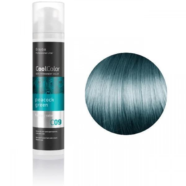Полуперманентная краска для волос Erayba Cool Color C09 Зеленый павлин 100 мл
