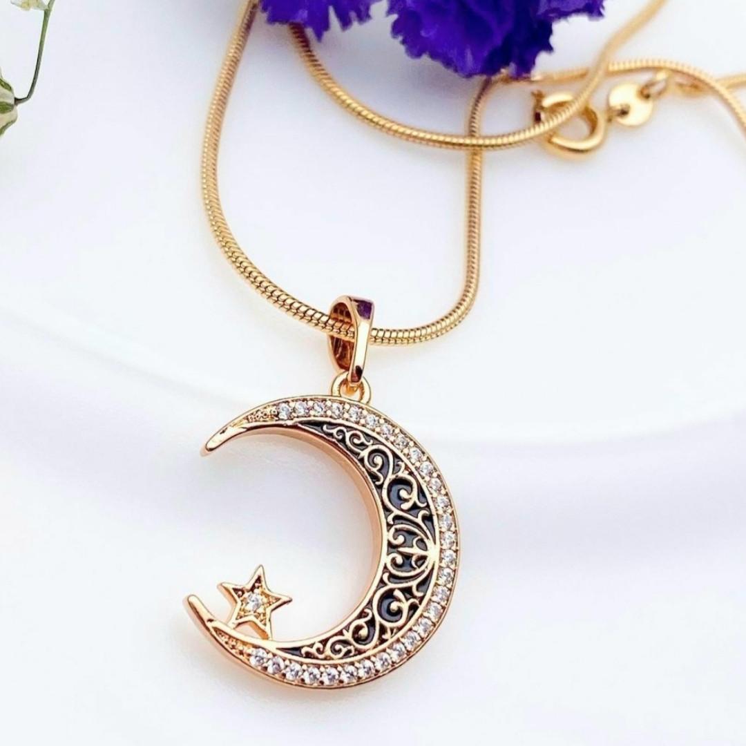 Кулон місяць з ланцюжком снейк 1мм 45см xuping медичне золото позолота 18К  5301
