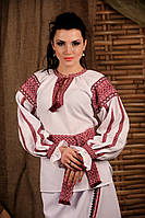 Женская вышиванка с поясом, размер 46