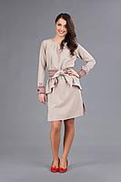 Стильное платье с вышивкой на девушку, размер 46