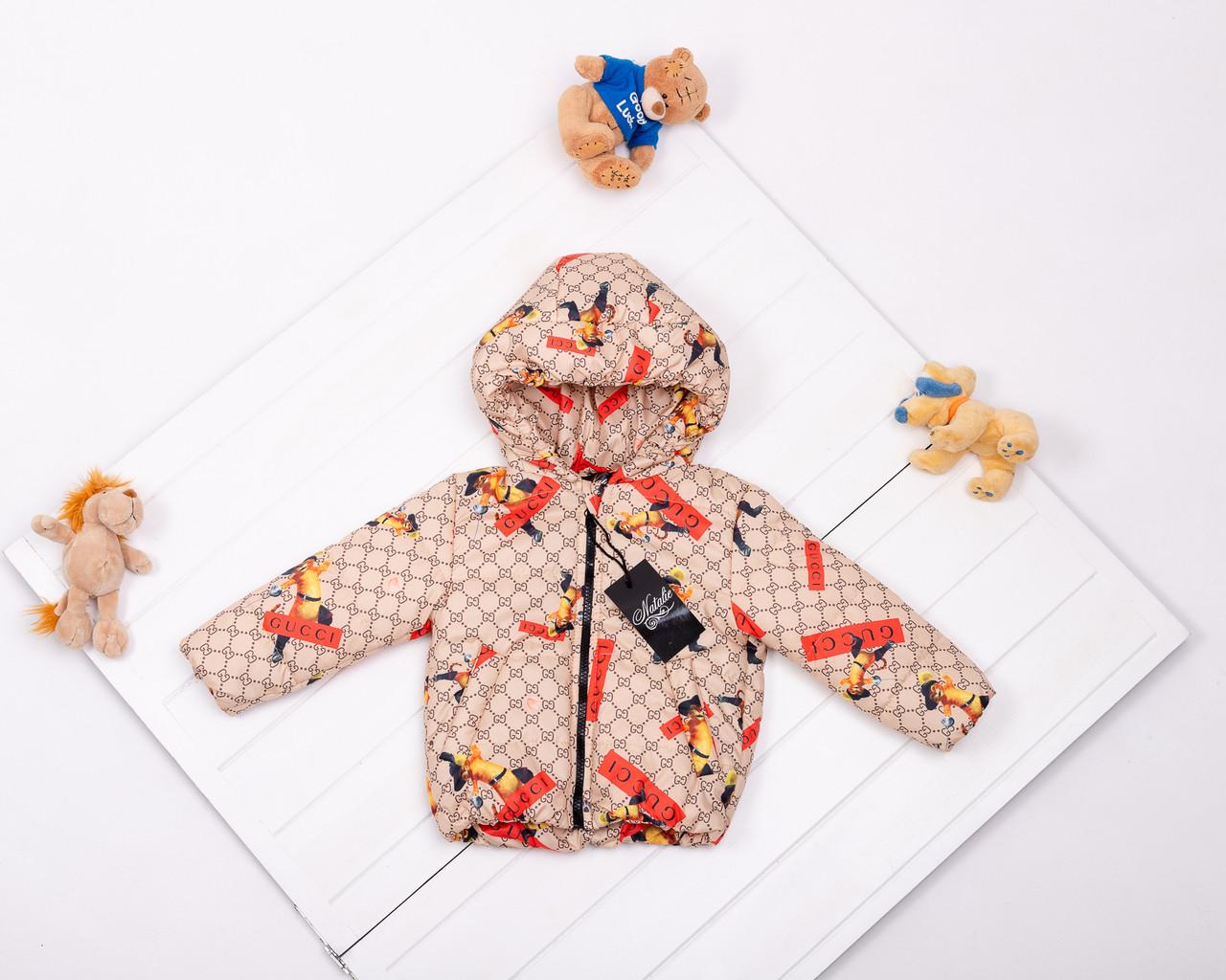 Дитяча демісезонна куртка з принтом кота в чоботях для дівчаток р 80-134