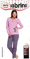 "Теплая байковая пижама Батал тм ""Sabrina"" (брюки серый цветочек)"