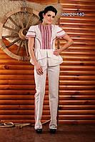 Брючный женский костюм с вышивкой, размер 46