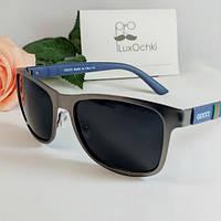 Стильные мужские солнцезащитные очки Гучи квадратные в металлической оправе с синей дужкой