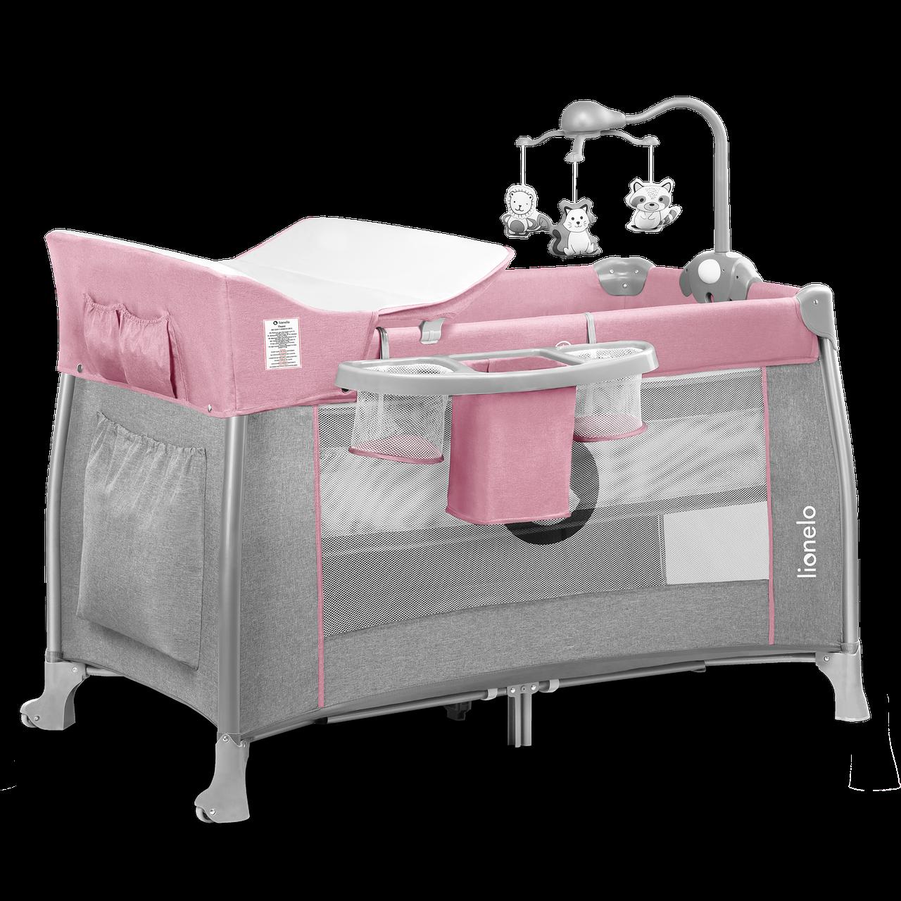 Кроватка-манеж Lionelo THOMI PINK BABY