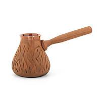 Турка глиняная для кофе 0,45л резка Кора