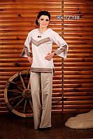 Брючный женский костюм с вышивкой, размер 48