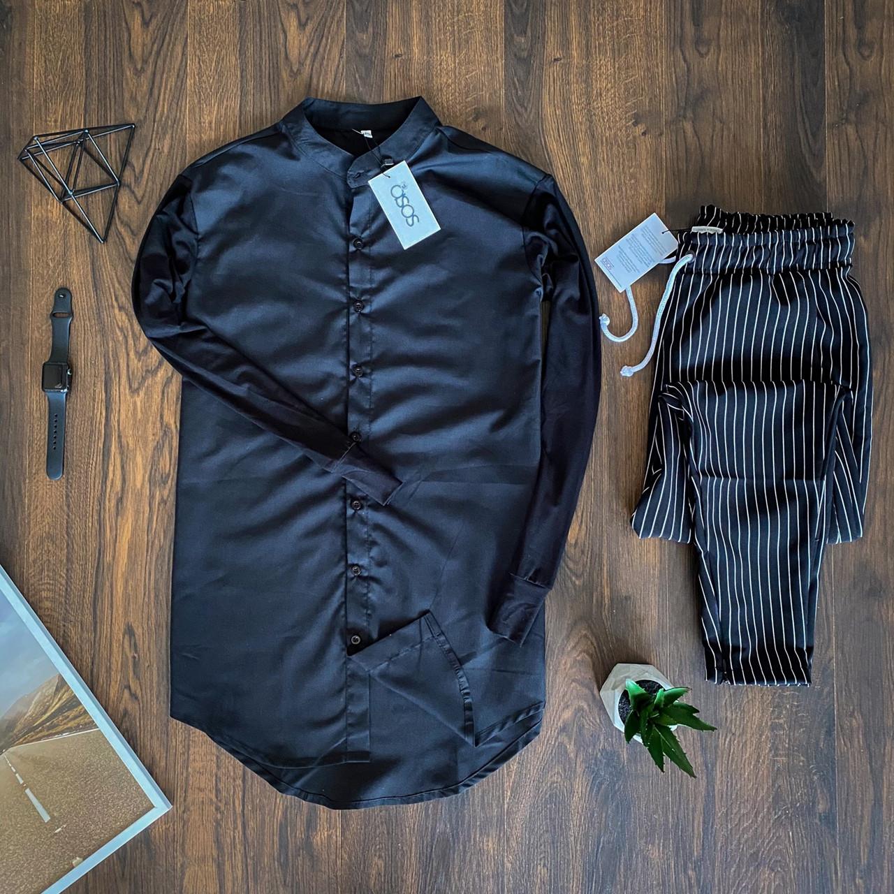 Мужской комплект Asos рубашка синяя и брюки в полоску, костюм стильный