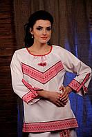 Женская удлиненная блуза с вышивкой, размер 50