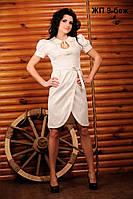 Однотонное женское платье с вышивкой, размер 50