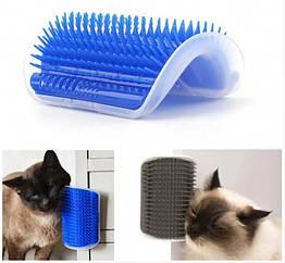Іграшка-масажер для кішок з кріпленням до стіни Cat It, чесалка, щітка синя
