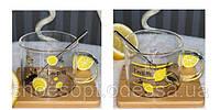 Кружка скляна Лимон з підставкою