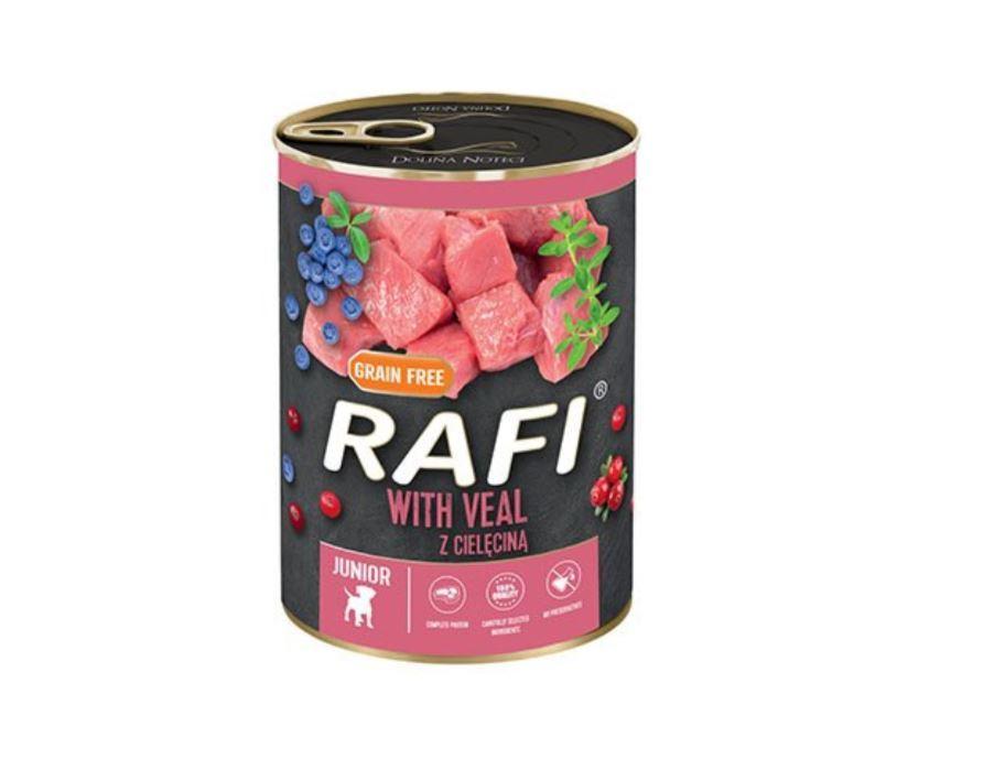 Консервированный корм для щенков RAFIDOG Junior в паштете телятина, голубика и клюква, 400 г