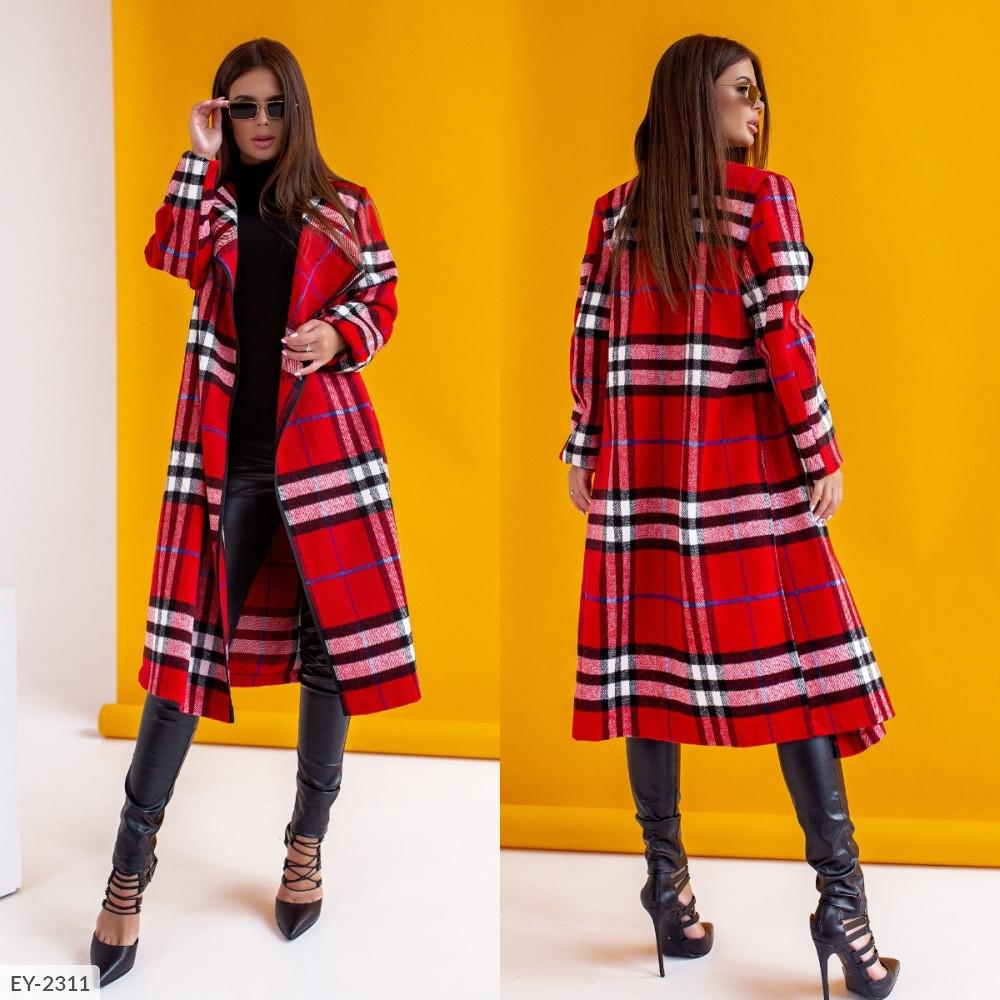 Кардиган-пальто оверсайз в клетку с шалевым воротником, №247, красный, 44-48р.