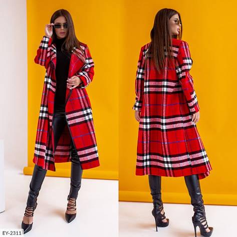Кардиган-пальто оверсайз в клетку с шалевым воротником, №247, красный, 44-48р., фото 2