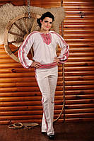 Женский брючный костюм с вышивкой, размер 50