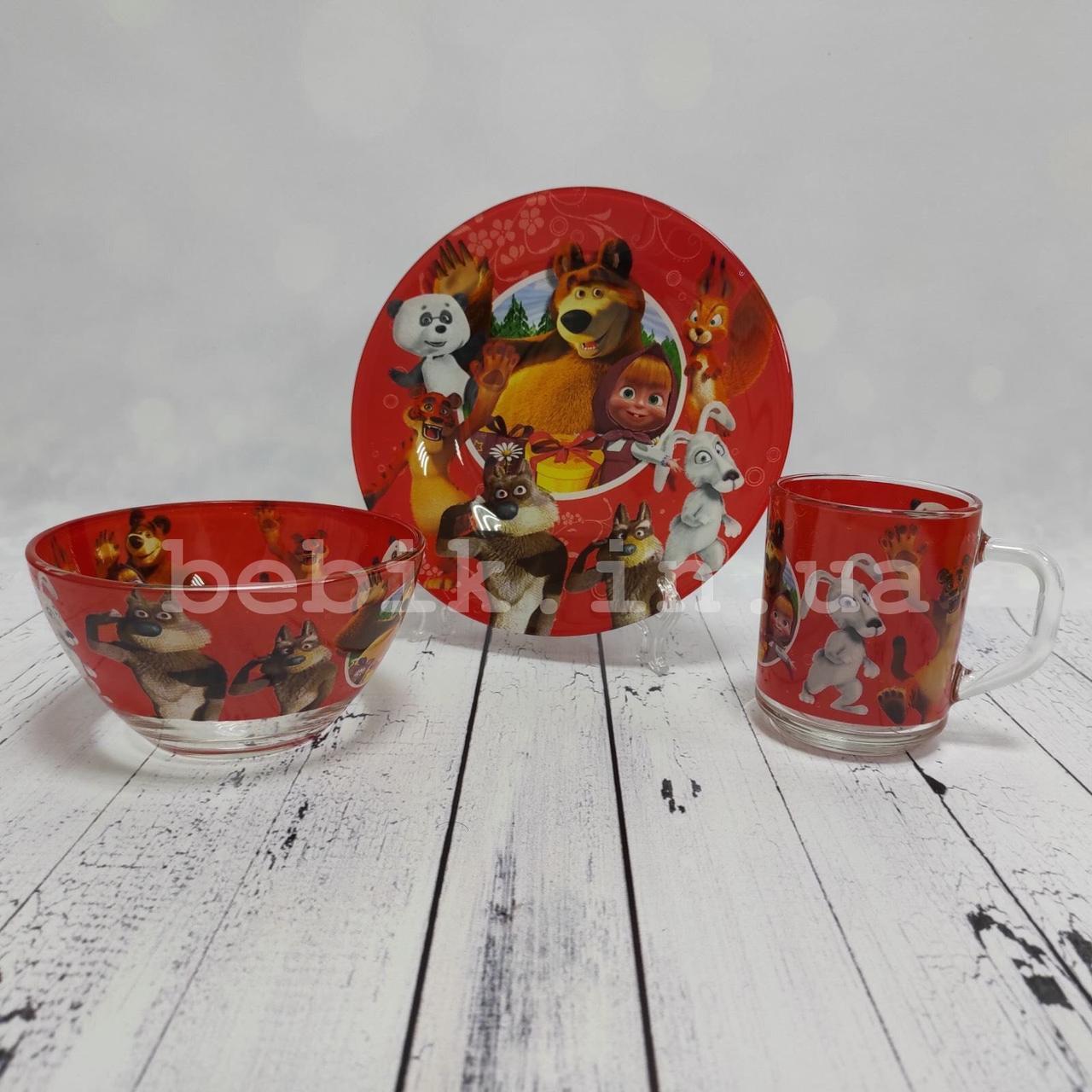 Набір дитячої скляного посуду Маша і Ведмідь