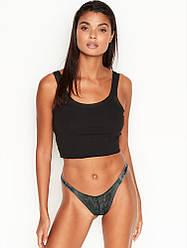 💋 Трусики зі стразами Victoria's Secret Shine Strap Lace Brazilian Panty, Зелені Мереживо