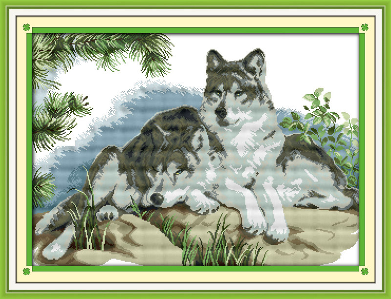 Пара волков D660  Набор для вышивания крестиком с печатью на ткани 14ст