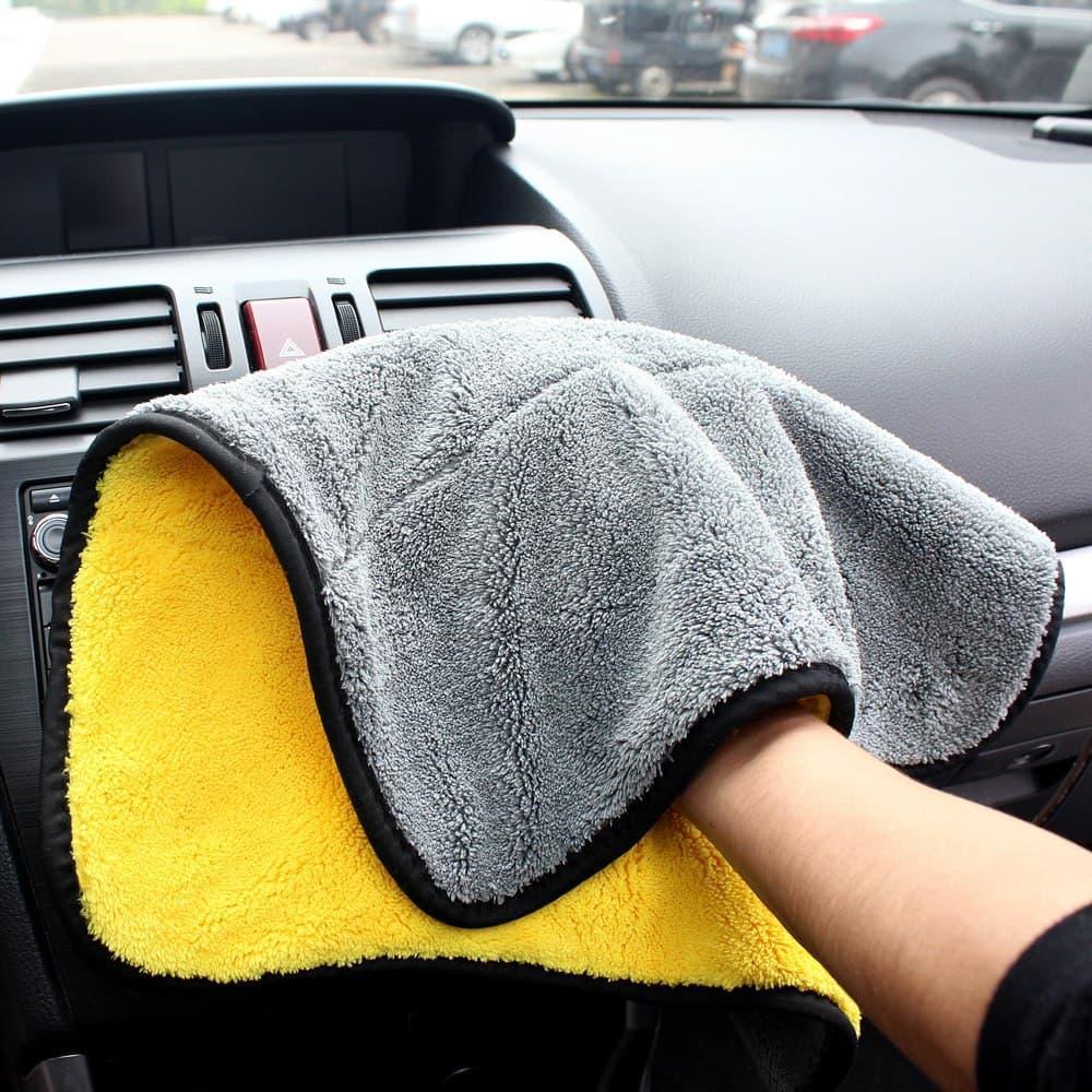 Микрофибра для полировки авто, серо-желтое 39х30 см, двустороннее полотенце для протирки автомобиля