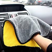 Микрофибра для полировки авто, серо-желтое 39х30 см, двустороннее полотенце для протирки автомобиля, фото 1