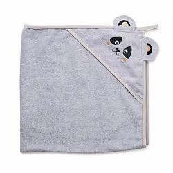 """Детское махровое полотенце-уголок с капюшоном для новорожденных Twins """"Панда"""" после купание, 100x100, серый"""
