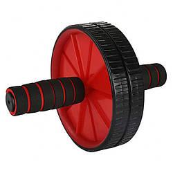 Домашний тренажер двойное колесо универсальный Bambi для мышц пресса 29 см, красный