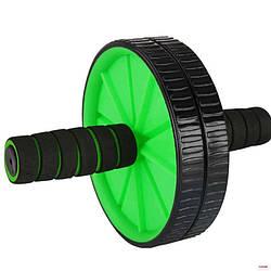 Универсальный домашний тренажер двойное колесо универсальный Bambi для мышц пресса 29 см, зеленый