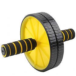 Домашний тренажер двойное колесо Bambi для мышц пресса 29 см, желтый
