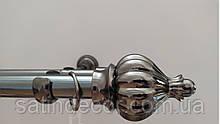 Карниз для штор металевий ТАДЖА подвійний 25+19 мм 2.4м Онікс (чорний блискучий)
