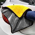 Микрофибра для полировки авто, серо-желтое 39х30 см, двустороннее полотенце для протирки автомобиля (GK), фото 3