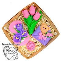 Мило набір 8 березня, вісімка, мишка в конверті, букет тюльпанів, міні троянда, подарунок жінці, ручна робота