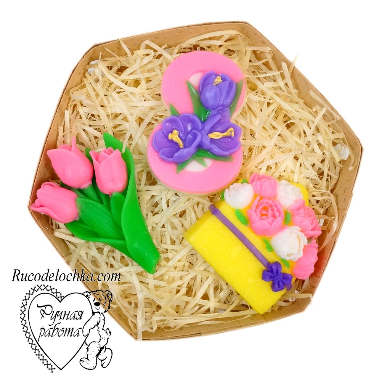 Мило набір 8 березня, вісімка, півонії в конверті, букет тюльпанів, подарунок жінці, ручна робота