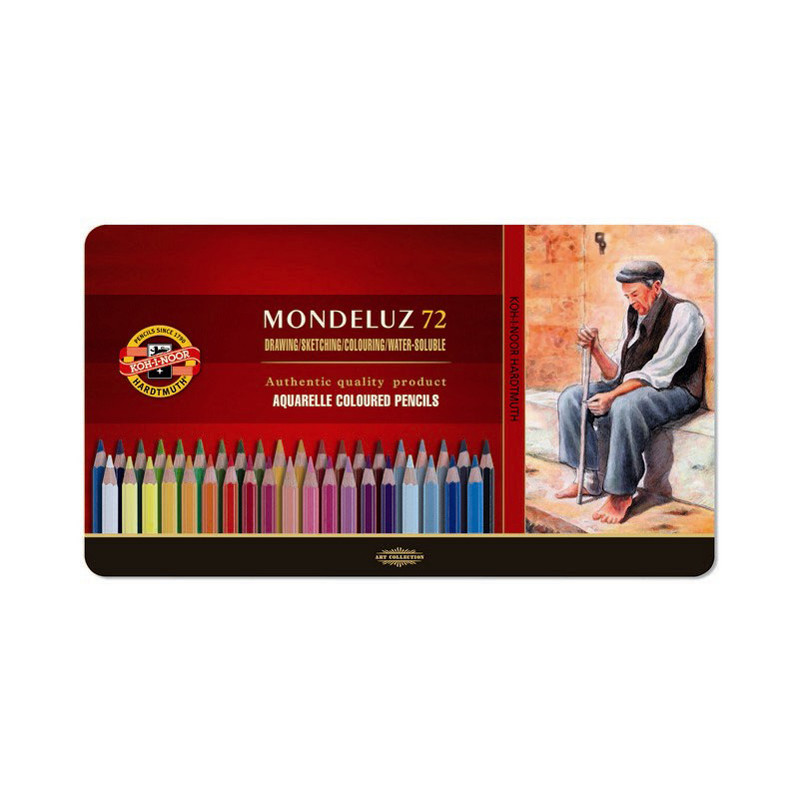 Карандаши цветные аквар.Mondeluz, мет.кор., 72 цв.