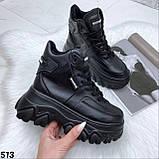 Кроссовки женские вычсокие черные, фото 4