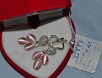 Серебряные серьги 925 пробы с кошачьим глазом, фото 1