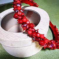 Обруч из бисера ручной работы красный ободок на голову, венок, диадема из чешского хрусталя Красная
