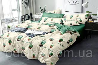Двуспальный комплект постельного белья евро 200*220 хлопок  (16225) TM KRISPOL Украина