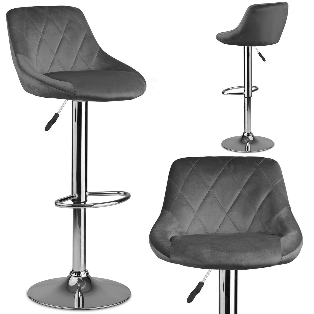 Барный стул со спинкой Нерра серый