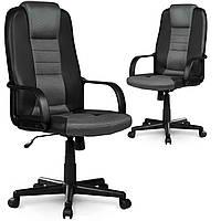 Кожаное офисное кресло с микро сеткой 518B черно-серое Марка Европы