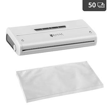 Комплект: Вакуумная упаковочная машина - 175 Вт - белый + пакеты с накаткой - 50 шт - 28 x 40 см Royal Марка