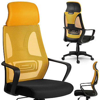 Кресло офисное микро-сетка прага - желтое Марка Европы
