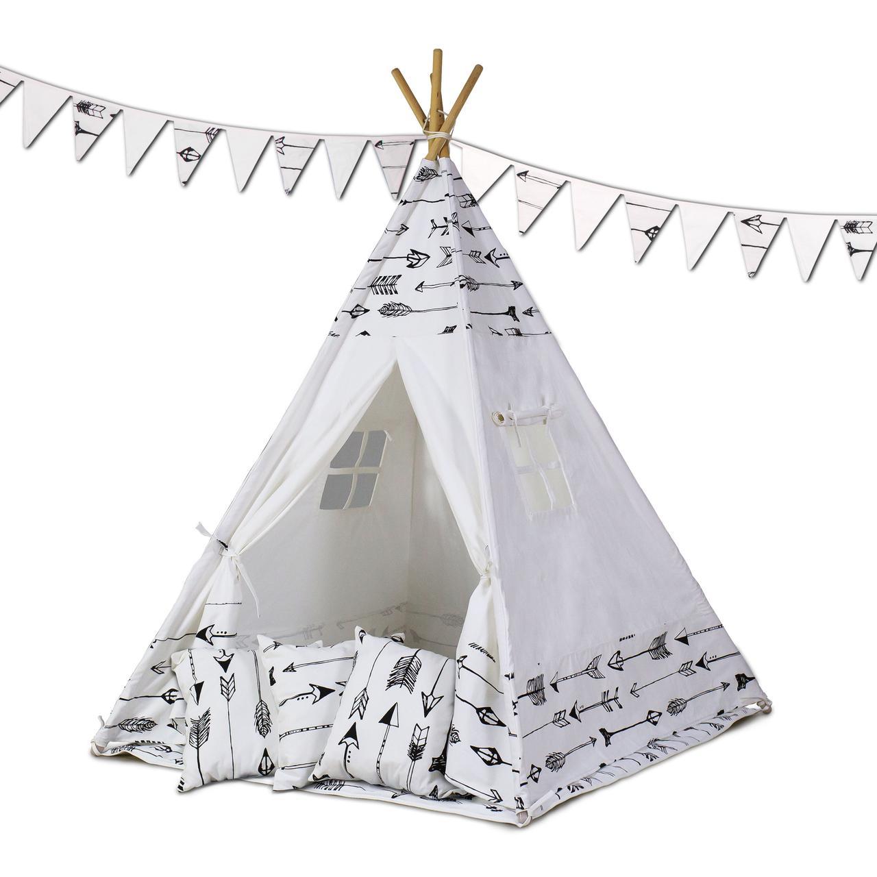 Палатка типи детская + коврик + подушки - белый