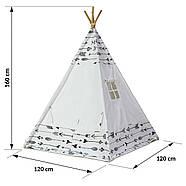Палатка типи детская + коврик + подушки - белый, фото 4
