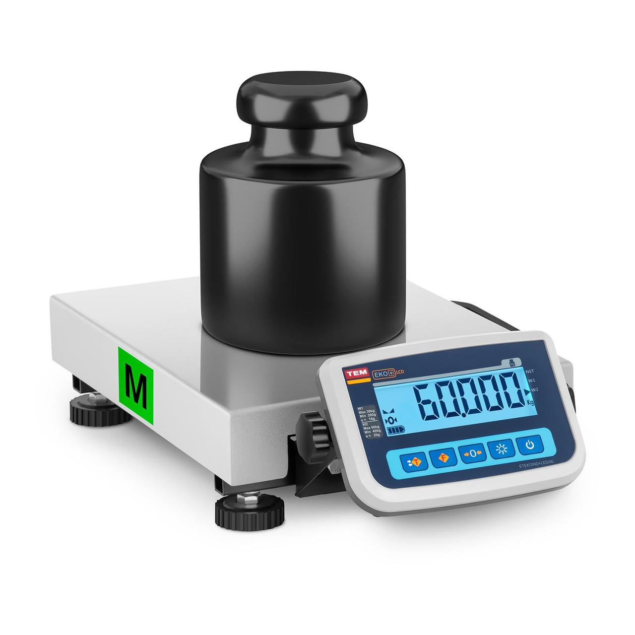 Весы складские настольные - 60 кг / 20 г - легализация - 30 х 40 см. TEM