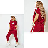 Жіночий спортивний прогулянковий костюм двійка футболка+штани двухнить на розмір: 42-44, 46-48, 50-52, фото 3