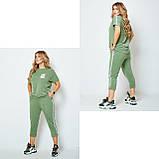 Жіночий спортивний прогулянковий костюм двійка футболка+штани двухнить на розмір: 42-44, 46-48, 50-52, фото 5